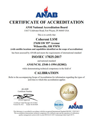 ISO 17025 Accreditation Certificate